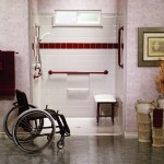roll-in shower with wheelchair
