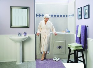 Woman exiting Walk-in Bathtub
